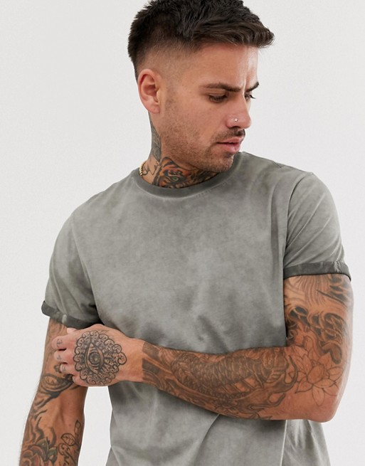 Ruiteng-Find Polo Tee Shirts Mens Acid Wash T Shirt With Roll Sleeve Rtc14 |