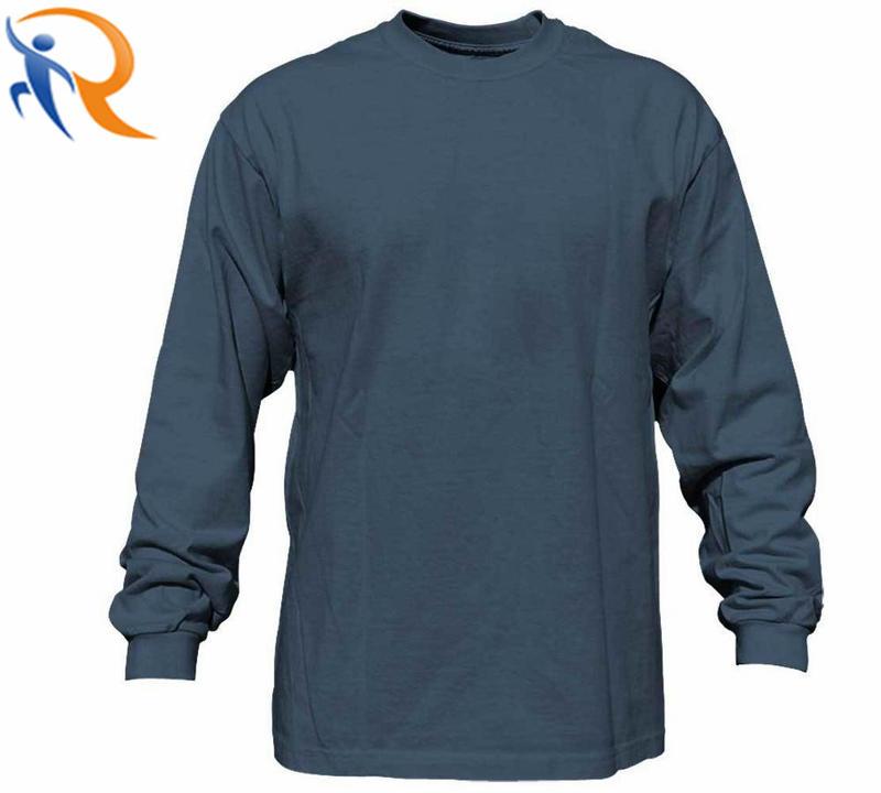 Men Fashion Simple Pure Color Long Sleeve T-Shirt