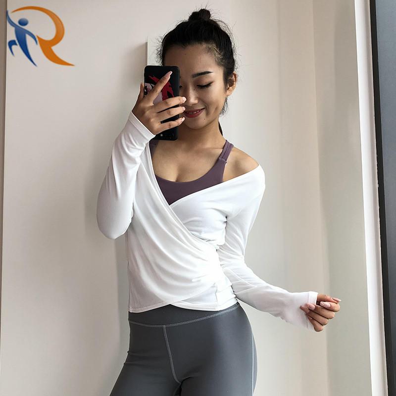 Women New Style Sports T-Shirt Long Sleeve V Neck T-Shirt