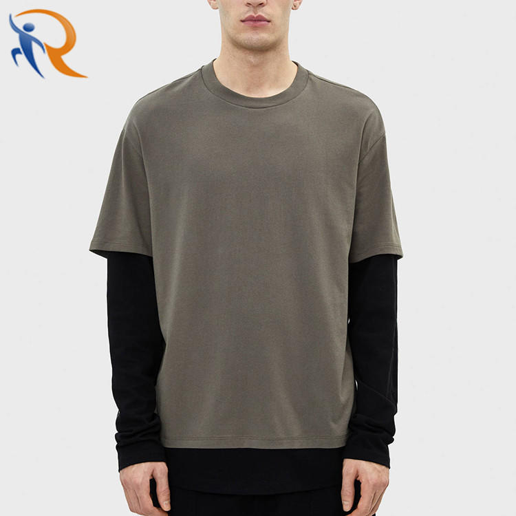 New Stylish Fashion Casual Double Layer Sleeves Long Sleeve T Shirt for Men
