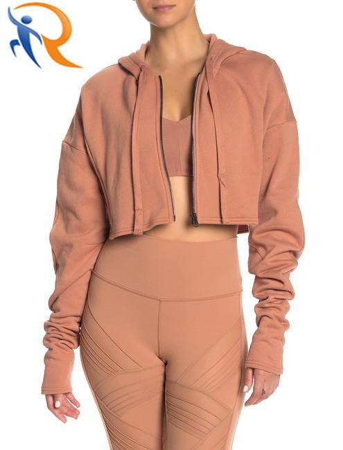 Women New Style Jacket Long Sleeve Full Zipper Short Coat Crop Top