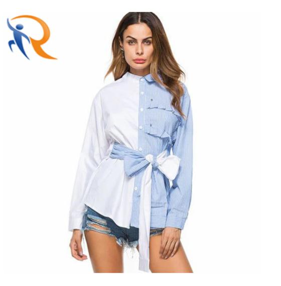 Women Long Sleeve Fashion Design Lapel Blouse