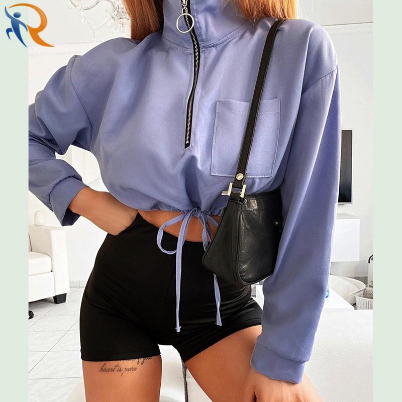 Women Autumn Thin Coat New Designed Solid Color Soft Half-Zipper Coat