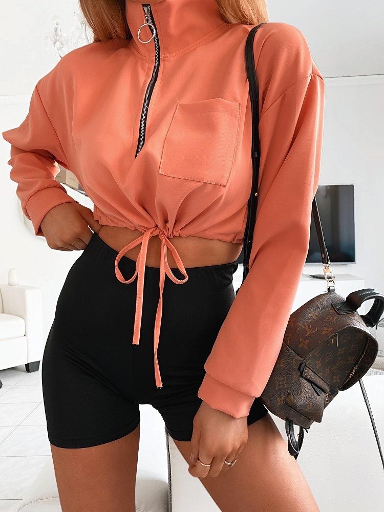 product-Ruiteng-Women Autumn Thin Coat New Designed Solid Color Soft Half-Zipper Coat-img