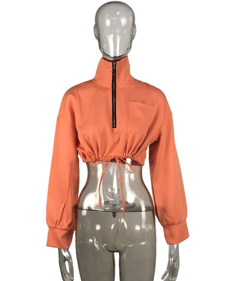 product-Women Autumn Thin Coat New Designed Solid Color Soft Half-Zipper Coat-Ruiteng-img
