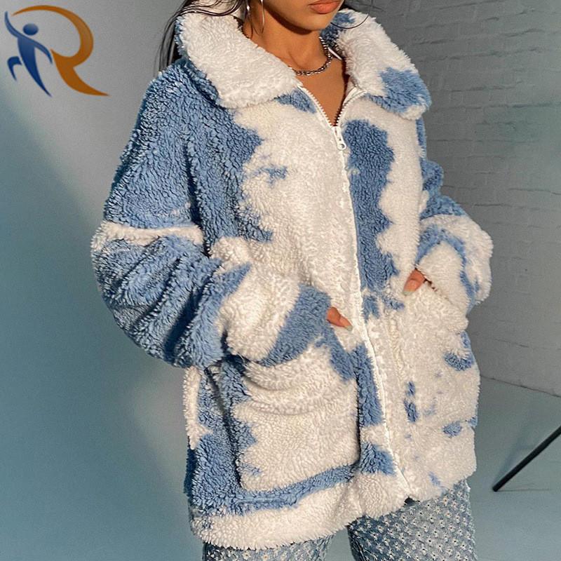 Women Winter Long Sleeve Warm Tie Dyed Wool Coat Fashion Winter Coat