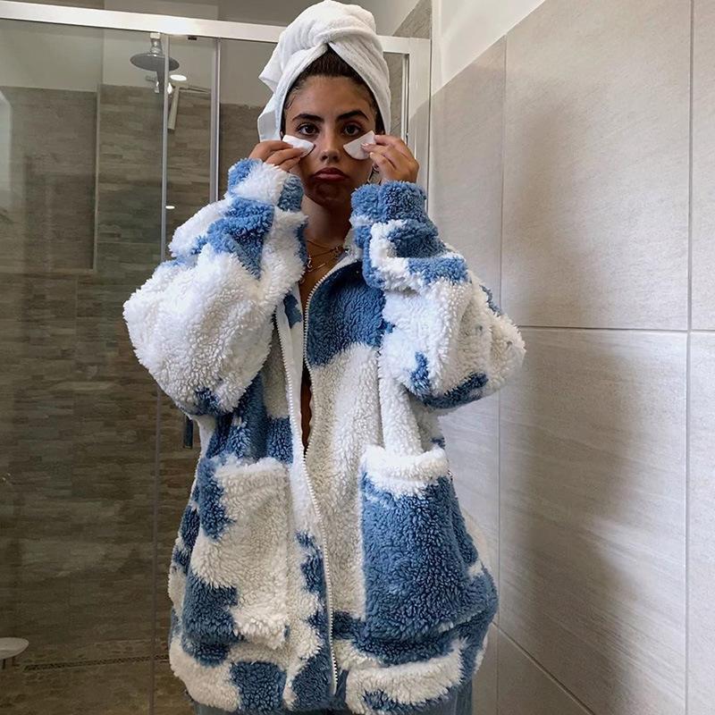 product-Ruiteng-Women Winter Long Sleeve Warm Tie Dyed Wool Coat Fashion Winter Coat-img