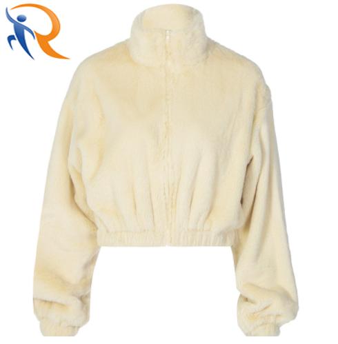 Winter Warm Coat New Designed Solid Color Soft Zipper Coat for Women