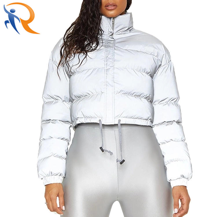 Women Fashion Winter Warm Long Sleeve Zipper Crop Coat Reflective Coat