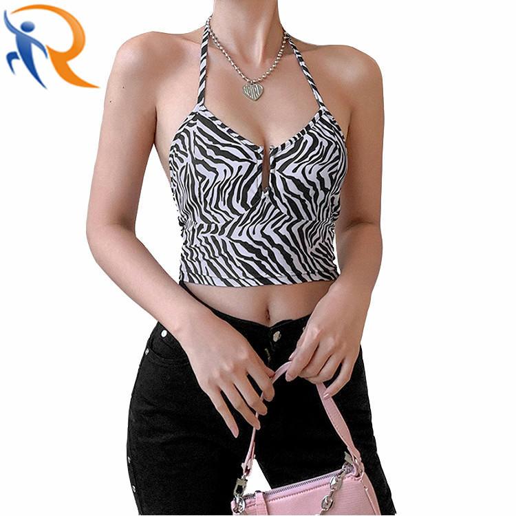 Women Sexy Zebra Crop Top Summer Slim Strap Sleeveless Tank Top