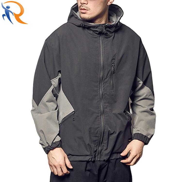 Men Oversized Spring Jacket Zipper Color Blocking Casual Jacket