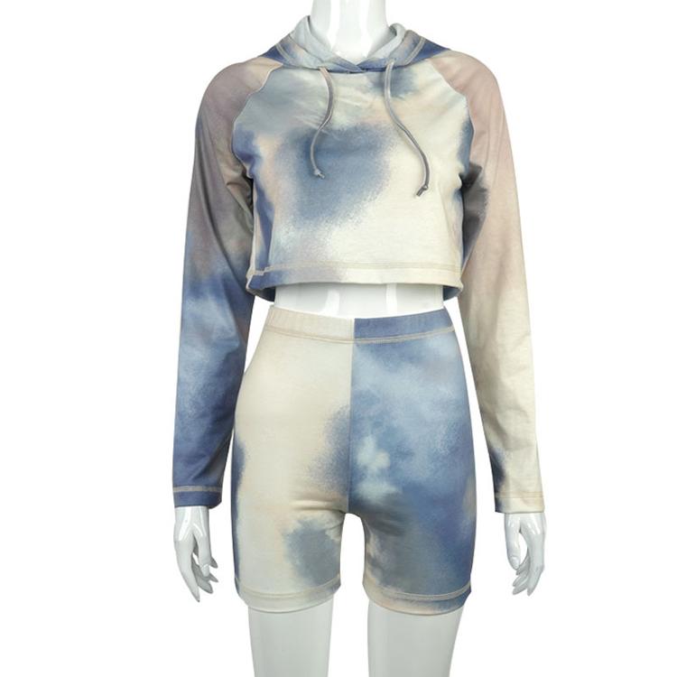 product-Women Street Wear Tie Dyed Print Pullover Cropped Hoodies Biker Short-Ruiteng-img