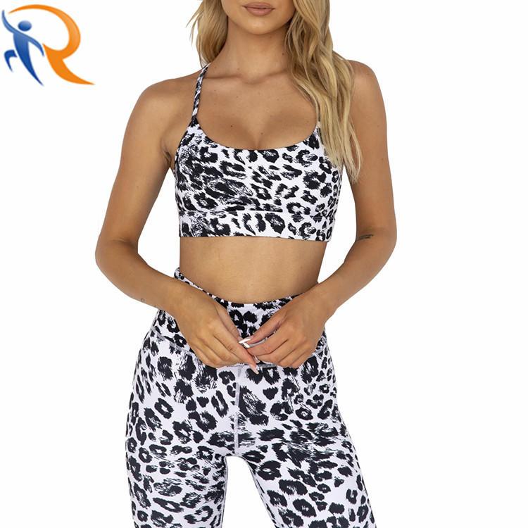 High Elasticity Sport Bra Shorts New Women Leopard Print Sports Yoga Set