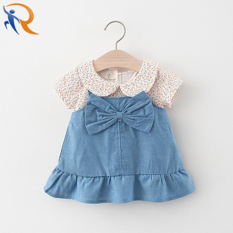 Kids Fashion Dress One Piece Denim Blue Girls Sweet Dress