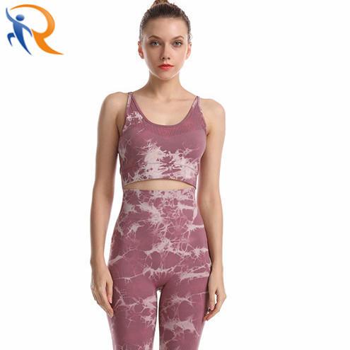 Women Fashion High Quality Sportswear Fitness Yoga Set Tie Dyed Printing
