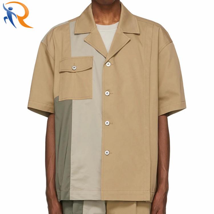Men Blouse Short Sleeve Fashion Blocking Oversized Shirts Blouse