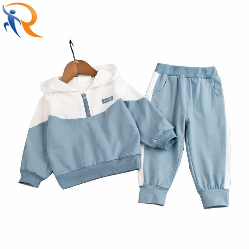Kids Spring Autumn Long Sleeve Unisex Half Zipper Hoodies Set Casual Wear