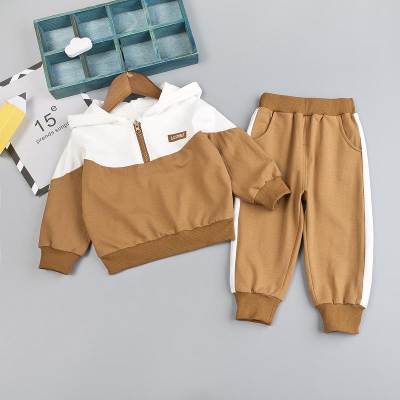 product-Kids Spring Autumn Long Sleeve Unisex Half Zipper Hoodies Set Casual Wear-Ruiteng-img