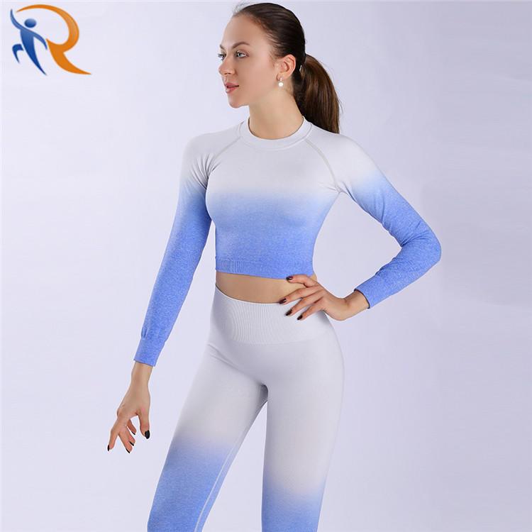 Women OEM Fashion Long Gradient Design Sportswear Yoga Set