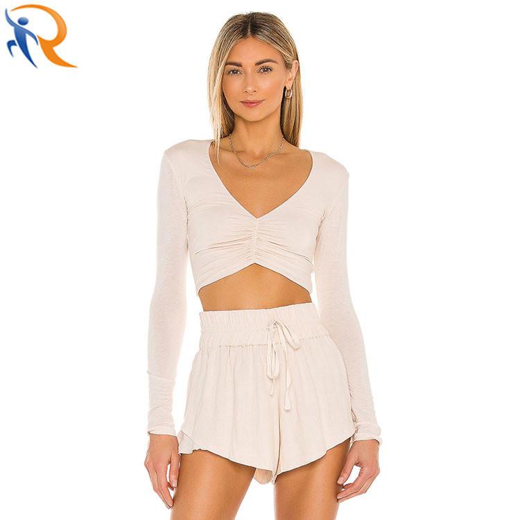 Women Fashion Soft Sexy V neck Long Sleeve Crop Top Shirt