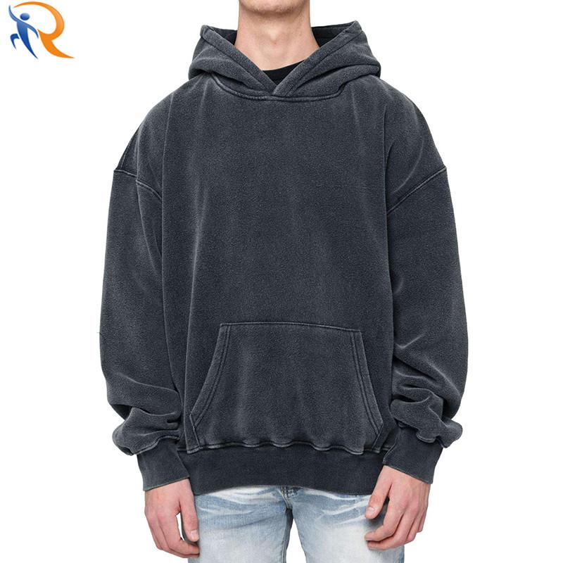 Men's Vintage Washed Black Oversized Street Wear Hoodies