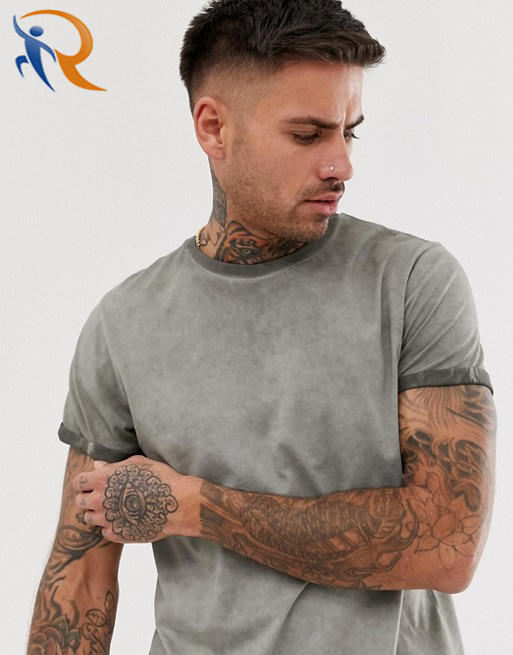 Mens Acid Wash T Shirt With Roll Sleeve RTC14