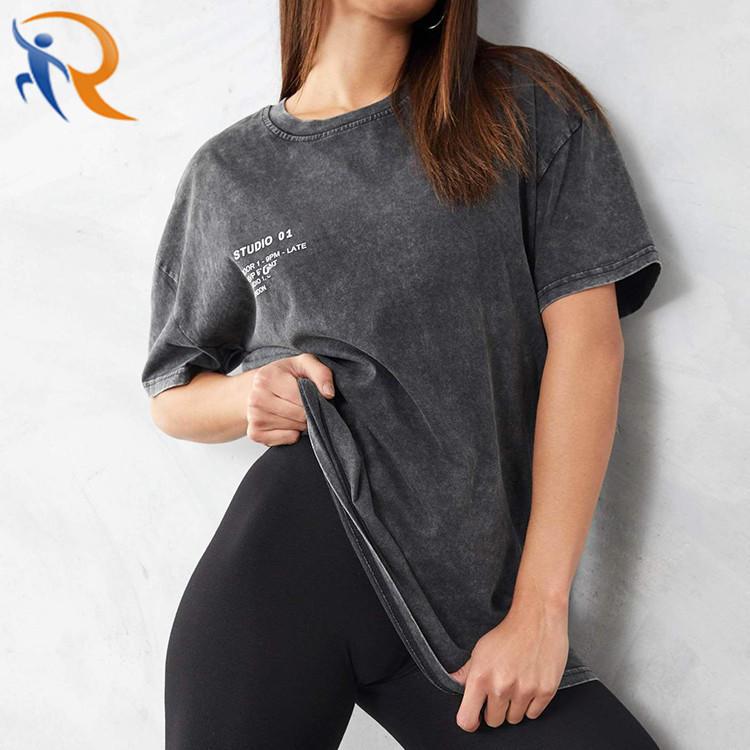 Custom Women Short Sleeve Black Grey BF High Street Oversized Acid Wash T Shirt