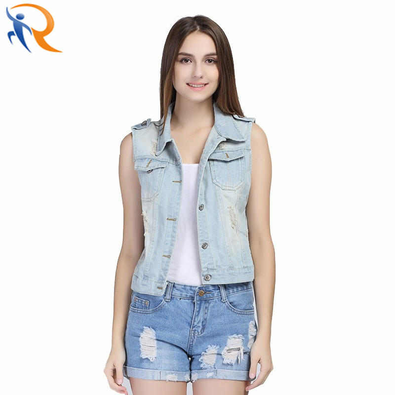 Women Fashion Denim Washed Blue Jean Coat Sleeveless Jacket