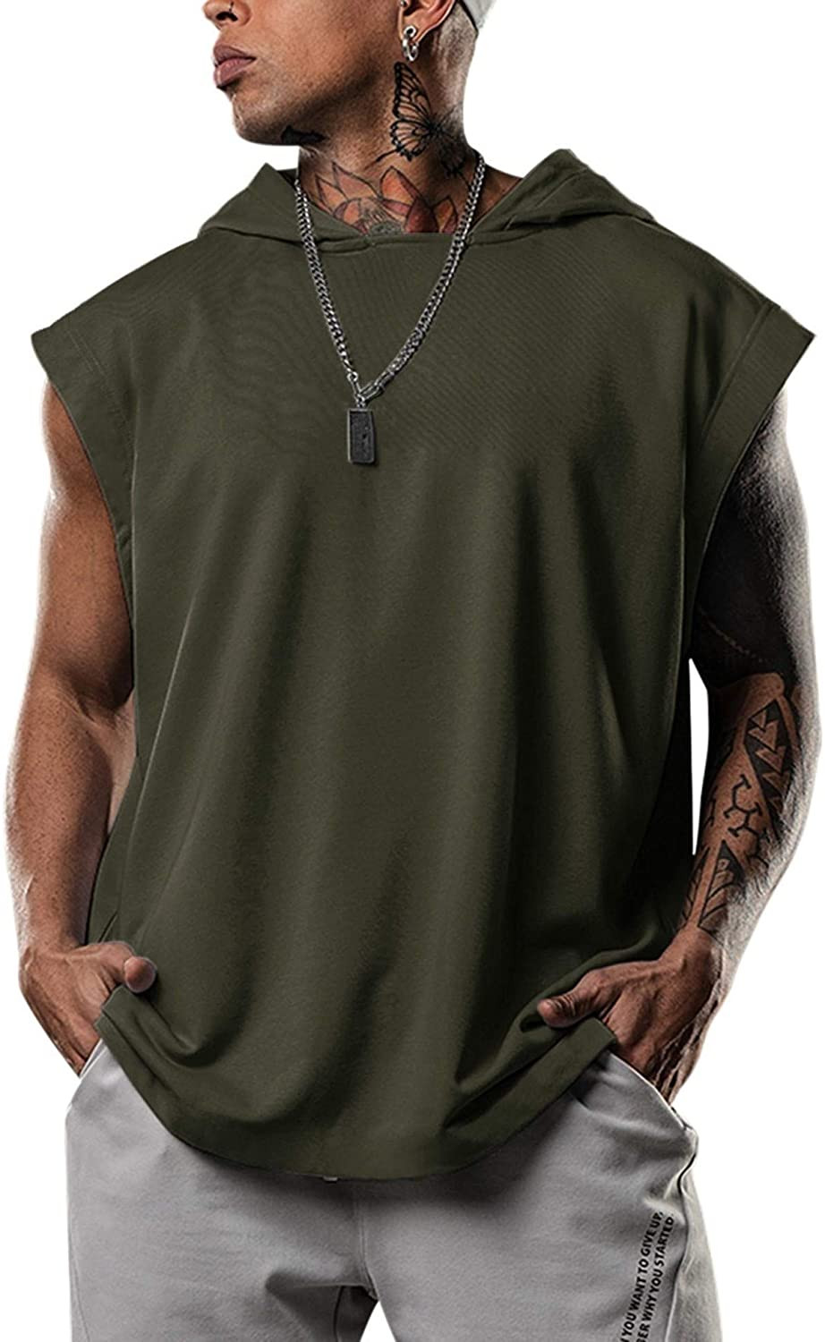 product-Sleeveless Fashion Streetwear Men′ S Solid Color Workout Singlet Hood-Ruiteng-img