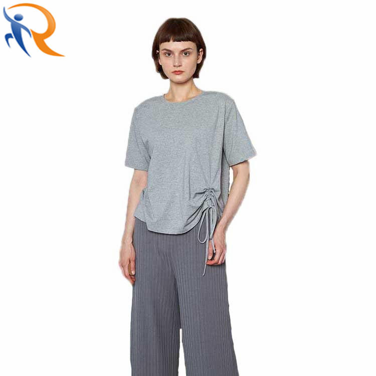 Wholesale Women Solid Color Plain Striped Casual Home Wear T-shirt