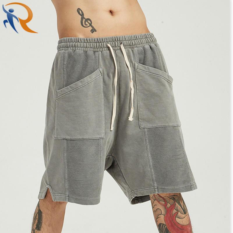 Men's Shorts Acid Washed Cut Sew Pockets High Street Pants