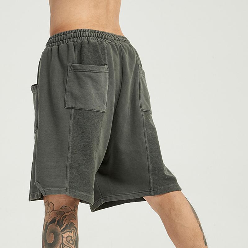 product-Ruiteng-Mens Shorts Acid Washed Cut Sew Pockets High Street Pants-img