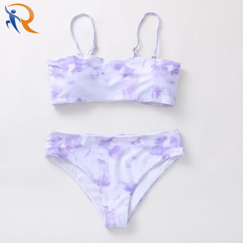 Fashion Swimwear Tie Dyed Bikini Beach Set Family Wear Mom Daughter