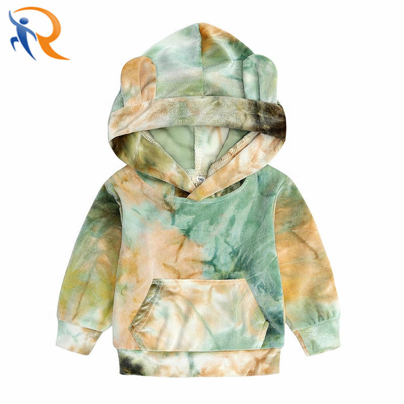 Baby New Arrivals Unisex Hoodies Set Colorful Tie Dyed Fashion Wear