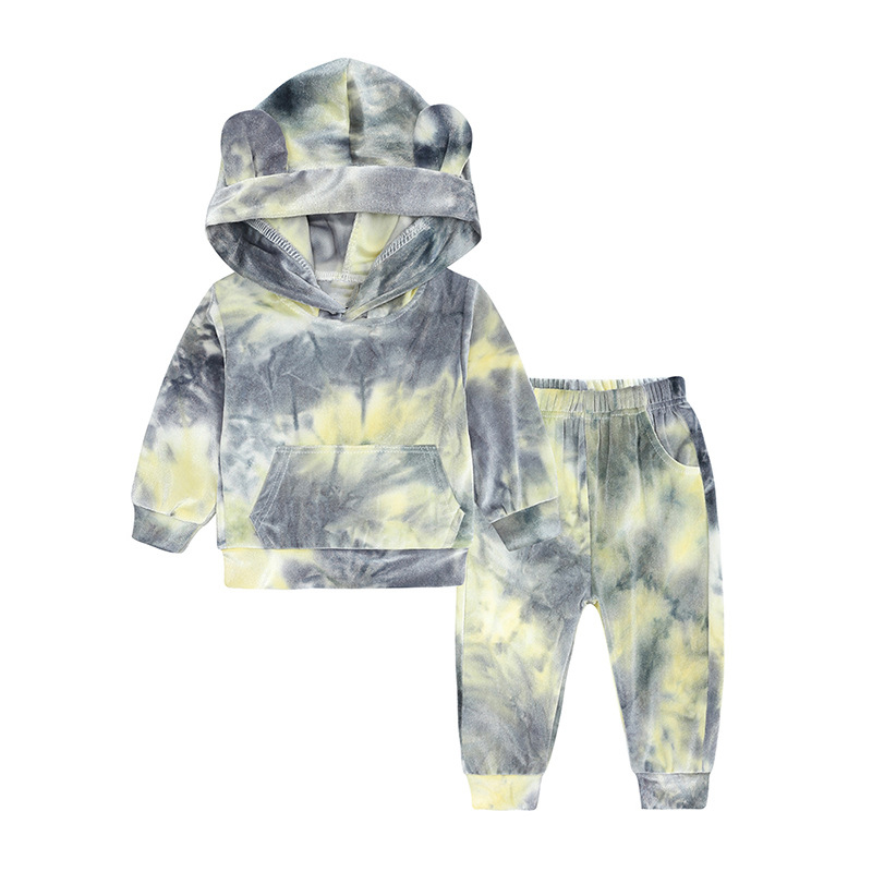 product-Baby New Arrivals Unisex Hoodies Set Colorful Tie Dyed Fashion Wear-Ruiteng-img