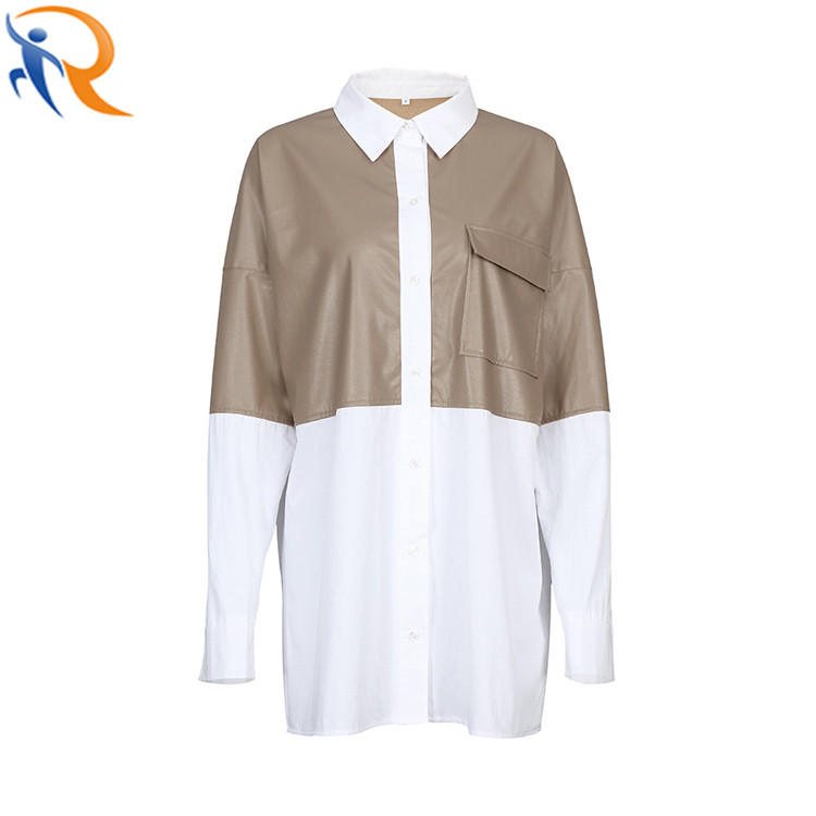Fashion Patchwork PU Leather Blouse Oversized Pocket Cotton Female Casual Blouses