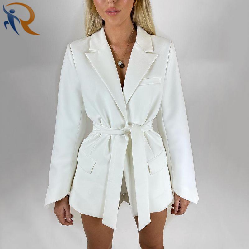 Fashion Design Office Lady Coat Lace-up Free Belt Autumn Coat