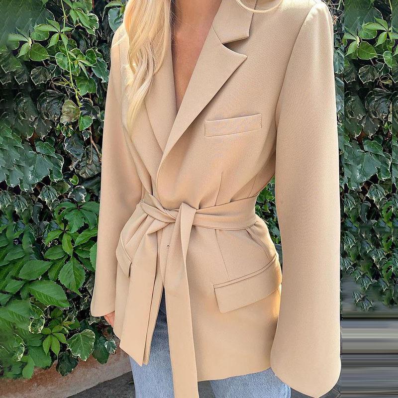 product-Fashion Design Office Lady Coat Lace-up Free Belt Autumn Coat-Ruiteng-img