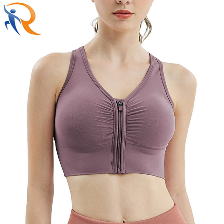 Fashion Sportswear Women Sexy Front Zip Up Cross Back Bra