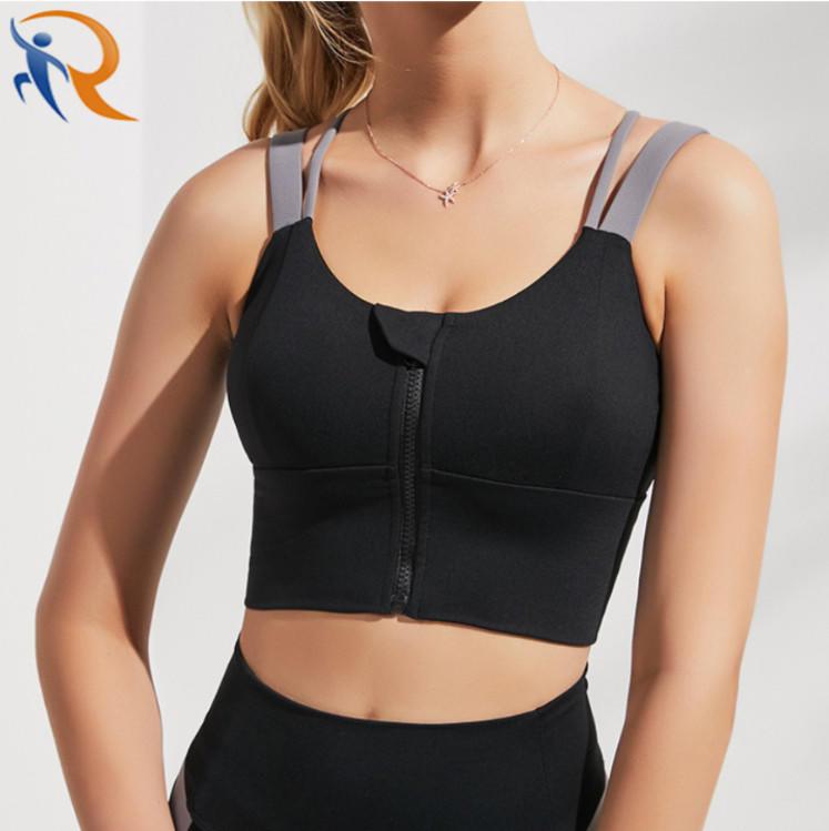Women Sportswear Bra Adjustable Front Zipper Sexy Bra Vest