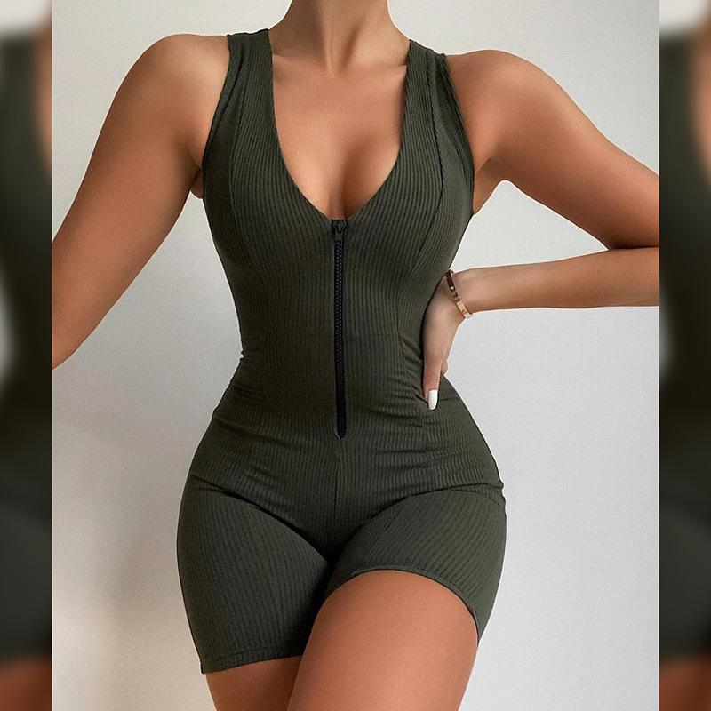 product-Women One Piece Jumpsuit Vest and Shorts V Neck Zipper Fashion Suit-Ruiteng-img