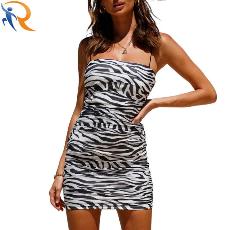 2021 Wholesale Fashion Sexy Strap Zebra Pattern Lady Elegant Sleeveless Dress