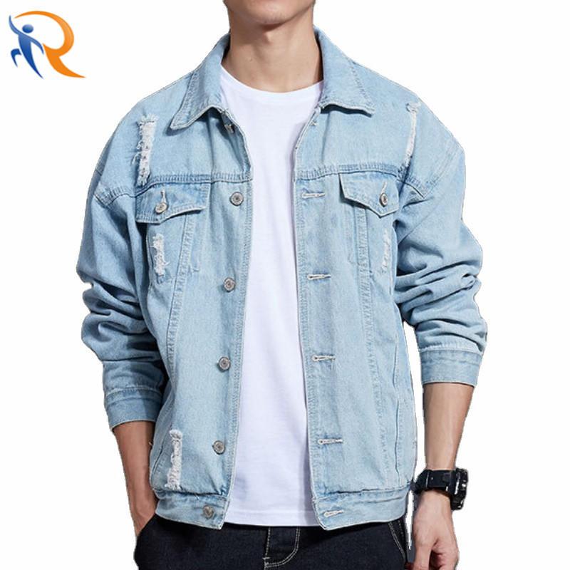 Fashion Men′s Street Wear Denim Jacket Blue Jeans Washed Effect Jacket