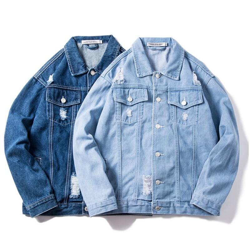 product-Fashion Menprime;s Street Wear Denim Jacket Blue Jeans Washed Effect Jacket-Ruiteng-img