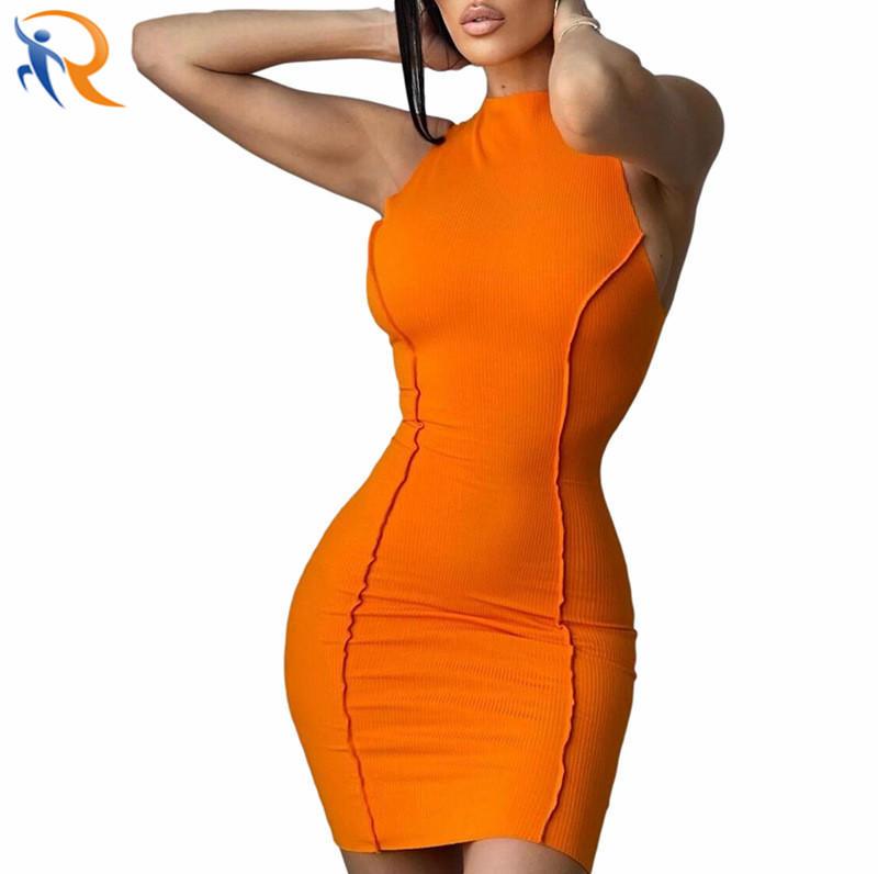 Sexy Lady Club Wear Slim Sleeveless Bodycon Ribbed Dress