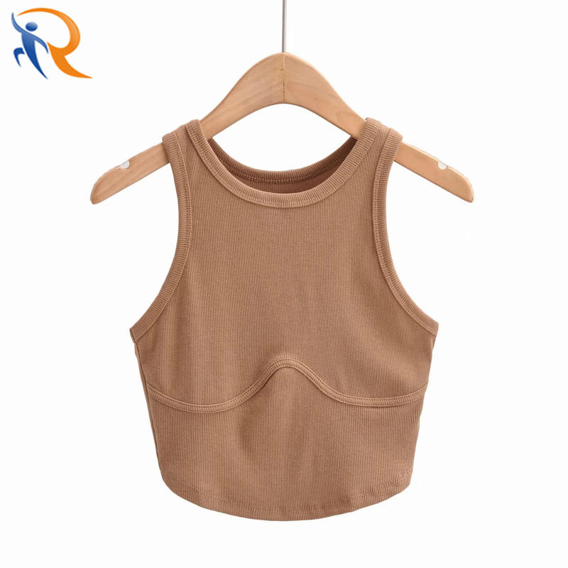 Hot Girl Solid Color Ribbed Knitted O Neck Fashion Vest