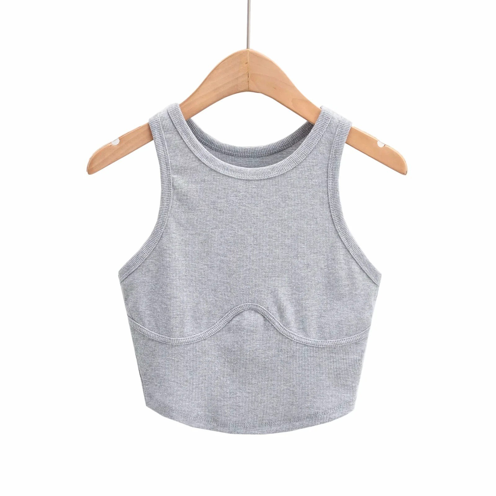 product-Hot Girl Solid Color Ribbed Knitted O Neck Fashion Vest-Ruiteng-img