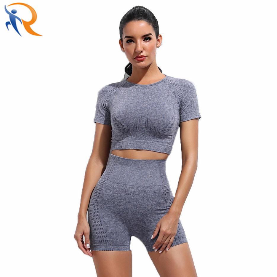 Women Seamless Short Yoga Fitness Set Sportswear Gym Fashion Wear