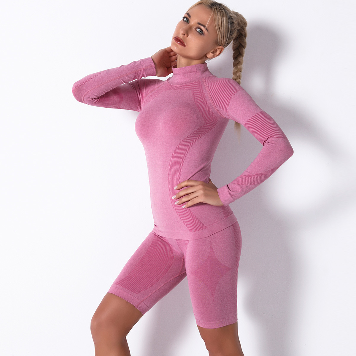 product-Wholesale Fashion Women Seamless Yoga Set Fitness Solid Color Sportswear-Ruiteng-img