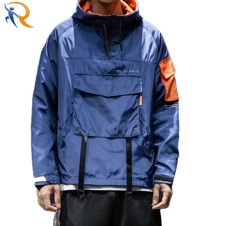 Wholesale Mens Fashion Jacket Half Zipper Pullover Streetwear Windbreaker Jacket